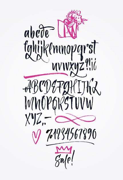 Police manuscrite manuscrite. brush font. majuscule, chiffres, ponctuation Vecteur gratuit