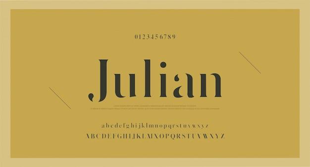 Police et numéro de lettres alphabet classique élégant Vecteur Premium