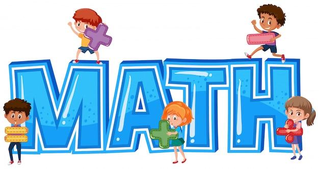 Police pour mot math avec les enfants Vecteur Premium
