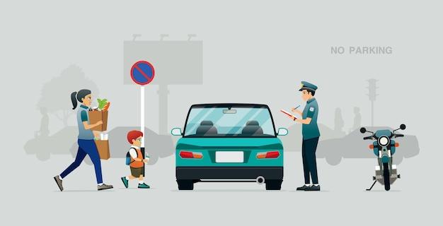 La Police A Rédigé Un Ordre De Circulation Pour Que Les Véhicules Se Garent Dans Des Endroits Interdits. Vecteur Premium