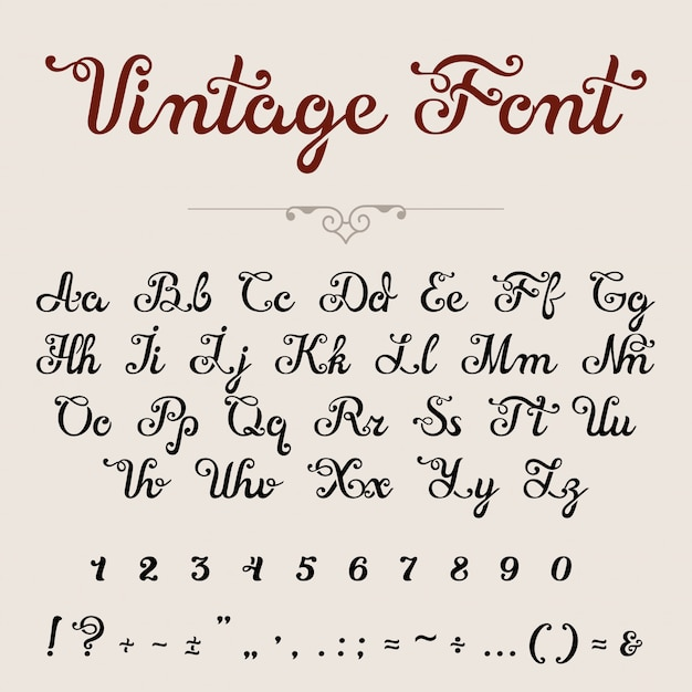 Police De Script Calligraphique élégante. Lettrage De Calligraphie Lettres De Caractères Vecteur gratuit