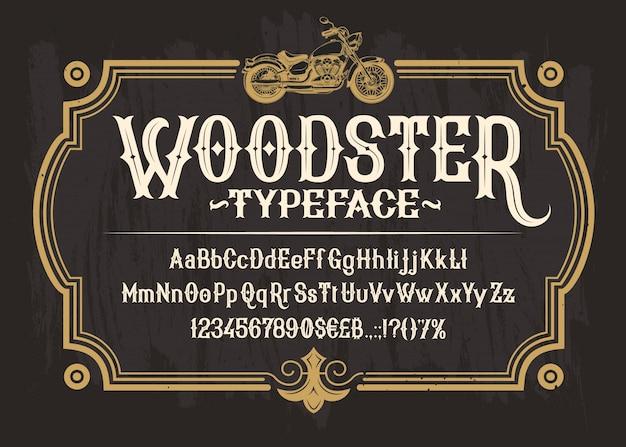Police serif blanc, alphabet, chiffres et symboles Vecteur gratuit