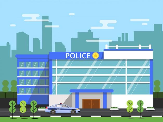 Police ou service de sécurité. extérieur du bâtiment municipal. Vecteur Premium