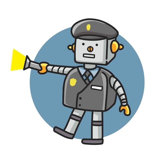 Police style dessin animé doodle dessin de robot Vecteur Premium