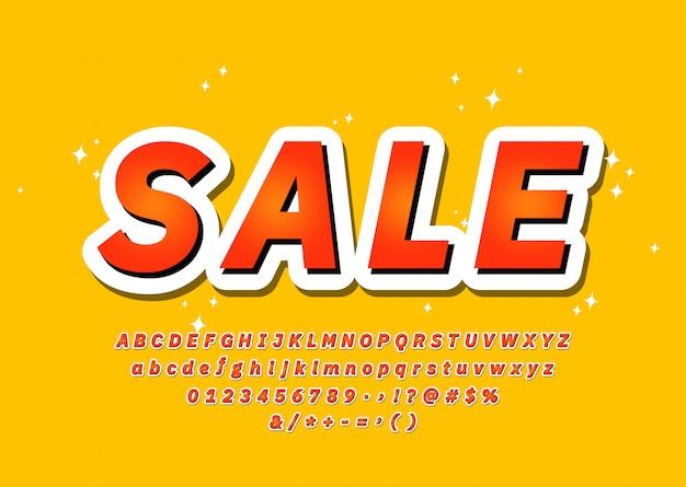 Police De Vente à La Mode Coloré Alphabet Typographie 3d Sans Style Serif, Promotion, Affiche De Fête, Bannière De Vente, Offre. Vecteur Vecteur Premium