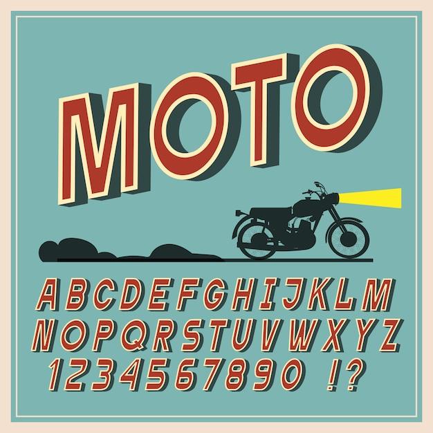 Police vintage, lettres et chiffres rétro, typographie de l'alphabet Vecteur Premium