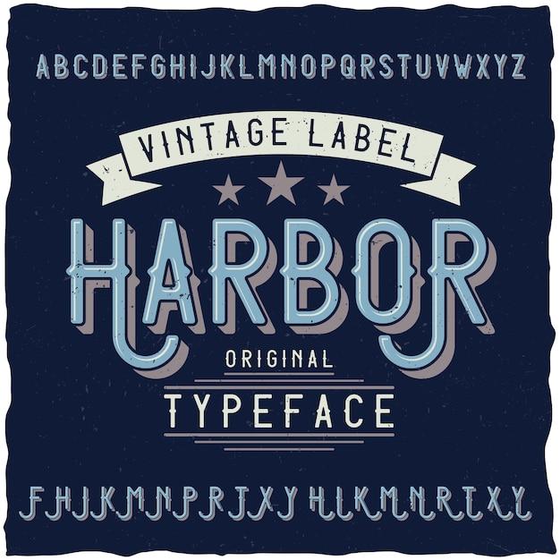 Police Vintage Nommée Harbour. Vecteur gratuit