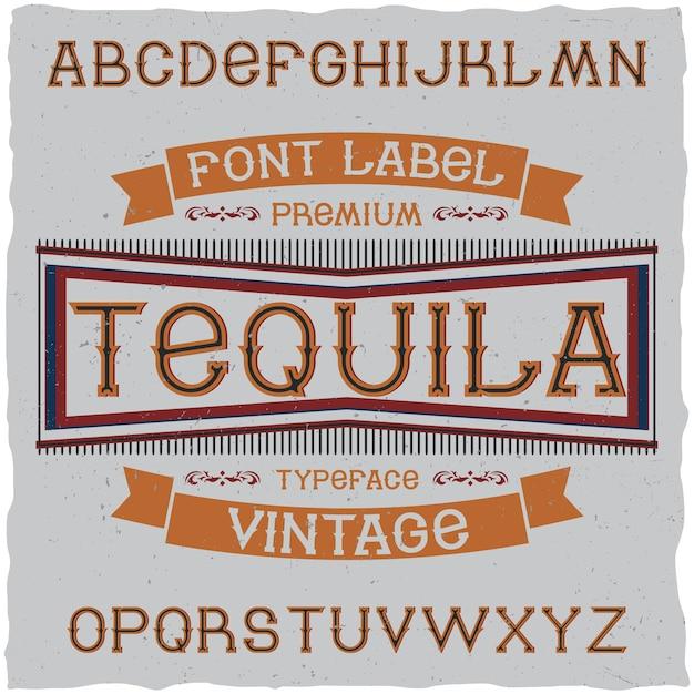 Police Vintage Nommée Tequila. Vecteur gratuit