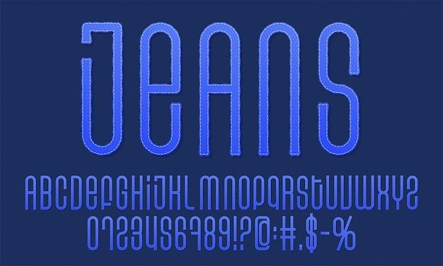 Police Vintage Texturée. Police D'étiquette Denim. Alphabet De Jeans. éléments De Conception Avec Effet Grunge. Vecteur Premium