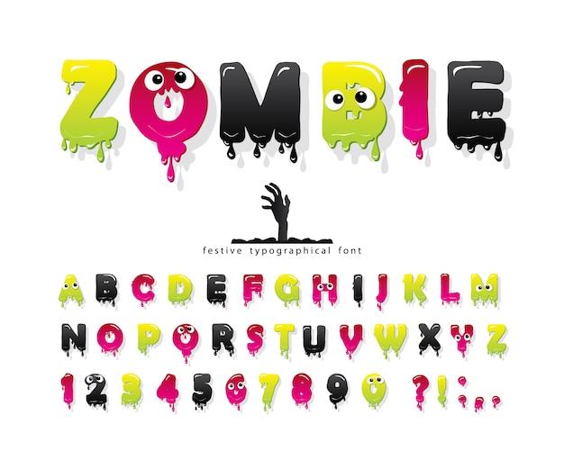 Police de zombie halloween. gelée mince alphabet coloré Vecteur Premium