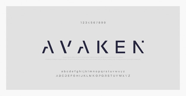 Polices alphabet moderne minimal abstraite. typographie Vecteur Premium