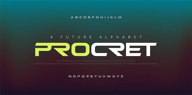 Polices de l'alphabet moderne numérique abstraite. Vecteur Premium