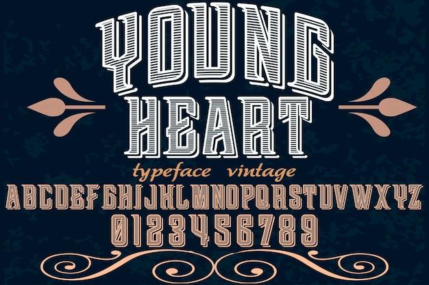 Polices vectorielles fabriqués à la main alphabet design jeune coeur Vecteur Premium