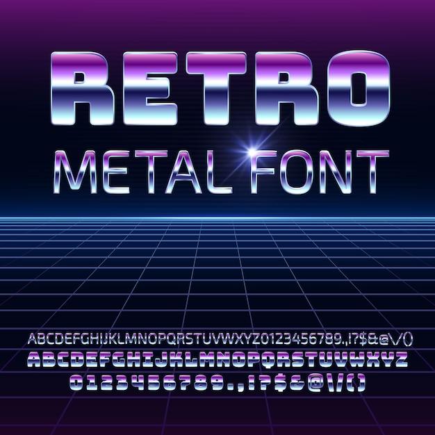 Polices vectorielles métal espace rétro. lettres et chiffres chromés futuristes de metallica dans le style vintage des années 80. Vecteur Premium