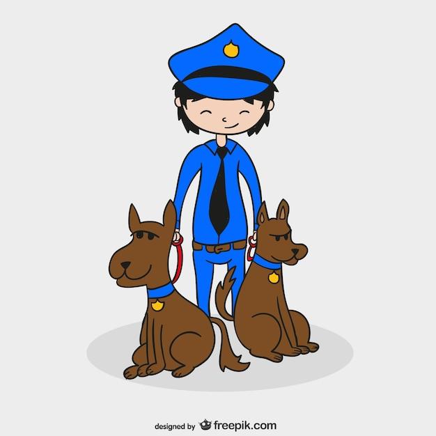 Policier Avec Des Chiens Vecteur gratuit