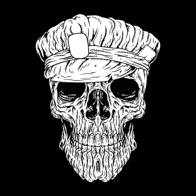 Policier de crâne, crane de tête, étiquettes ou logo Vecteur Premium