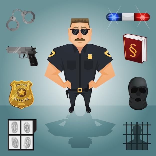 Policier avec éléments Vecteur Premium