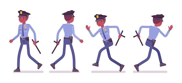 Policier marchant et courant bannière Vecteur Premium