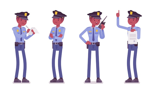 Policier En Service Vecteur Premium