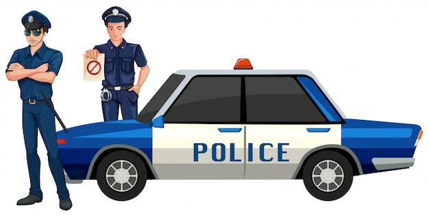 Policier avec voiture Vecteur Premium