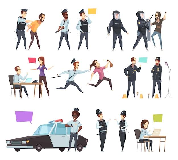 Policiers Au Travail Cartoon Set Vecteur gratuit