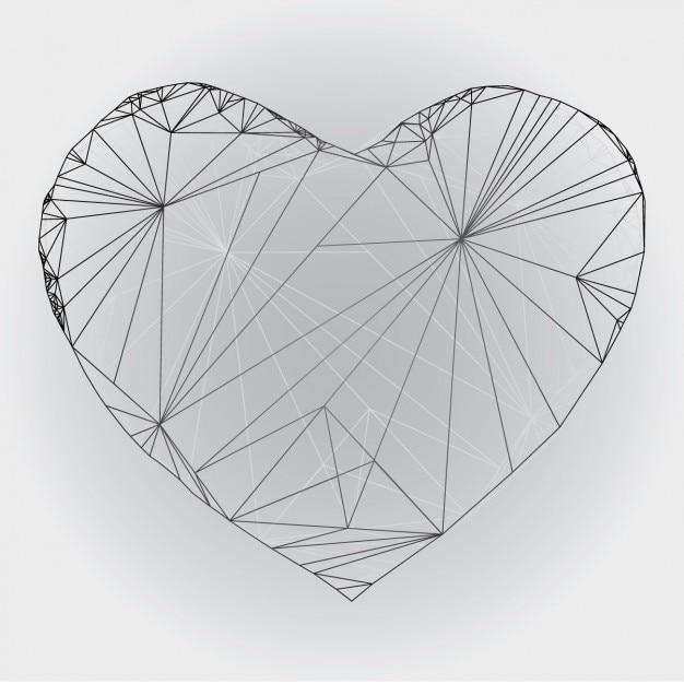 Poligonal conception de coeur exposé Vecteur gratuit