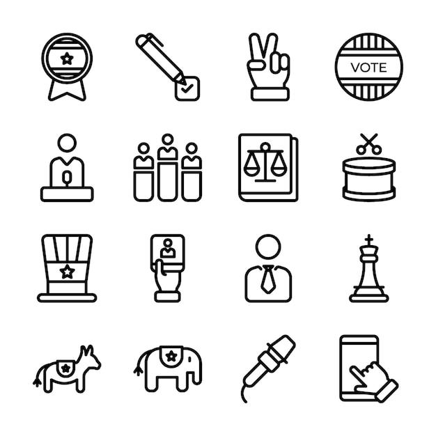 Politics line icons pack Vecteur Premium