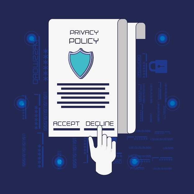 Politique de confidentialité conception d'illustration vectorielle de sécurité numérique Vecteur Premium