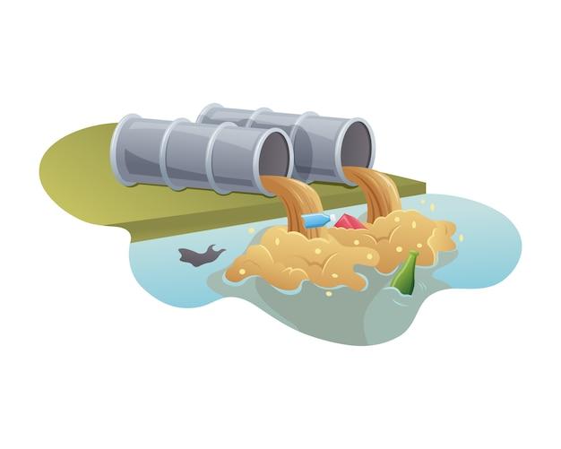 Pollution De L'eau Par Les Tuyaux Industriels Vecteur Premium