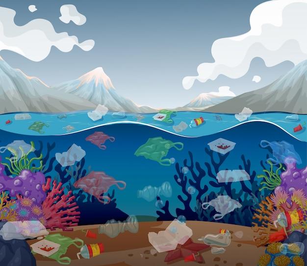 Pollution de l'eau avec des sacs en plastique dans l'océan Vecteur gratuit