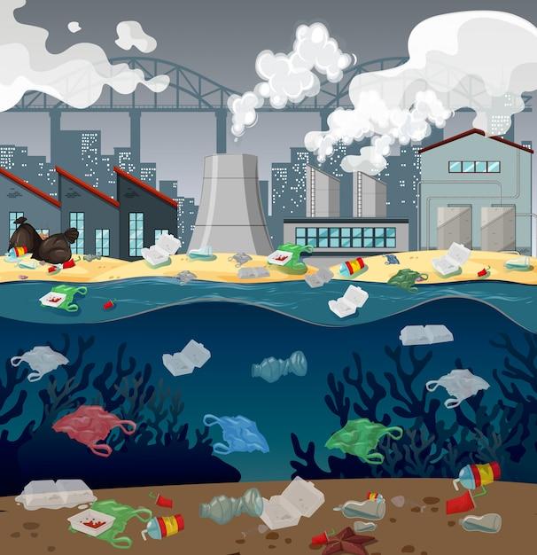Pollution de l'eau avec des sacs en plastique en rivière Vecteur gratuit