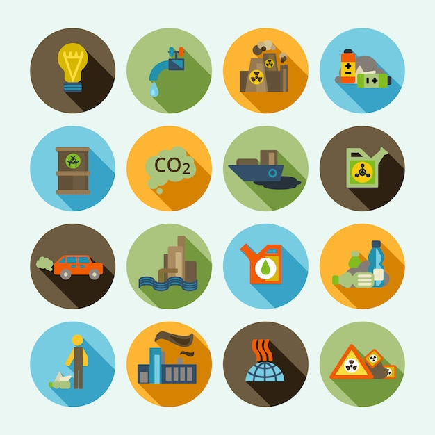 Pollution icons set Vecteur gratuit