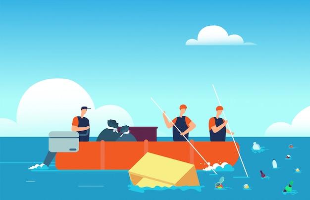 Pollution Mondiale Des Océans. Personnes En Bateau Ramassant Des Déchets Plastiques En Mer. Illustration De Vecteur De Dessin Animé Environnement Eau Polluée Vecteur Premium