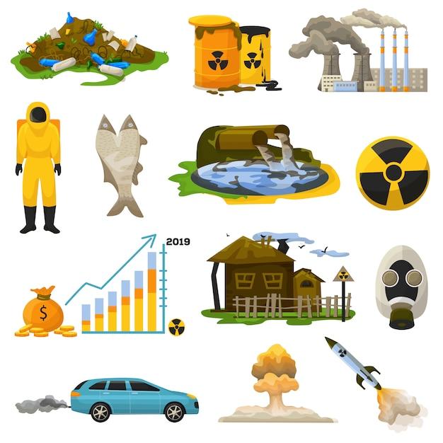 Pollution nucléaire, illustration de l'environnement polluant énergie atomique radioactive Vecteur Premium