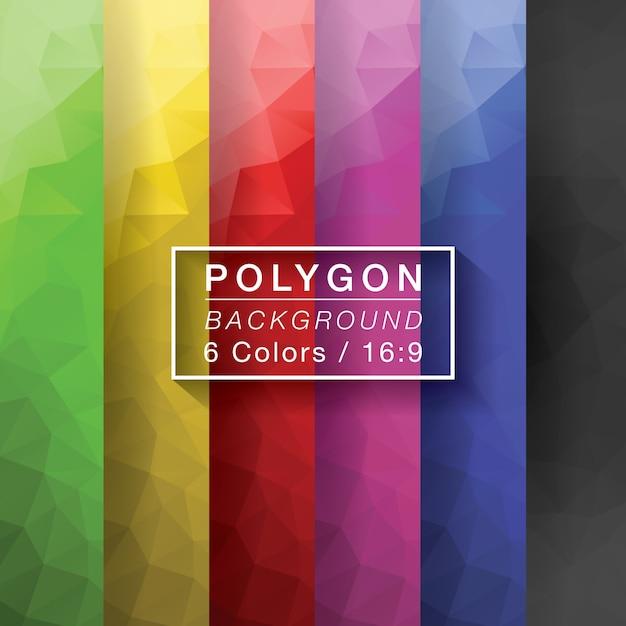 Polygon set 6 couleurs Vecteur Premium