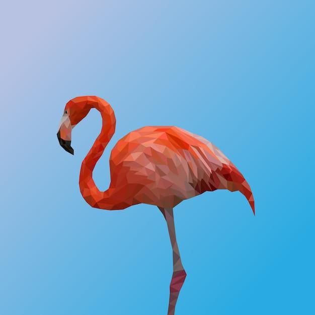 Polygonal géométrique du vecteur premium flamingo Vecteur Premium