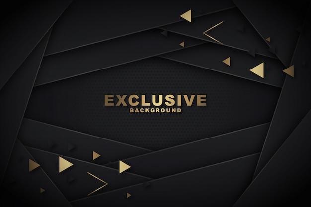 Polygonal noir & doré Vecteur Premium