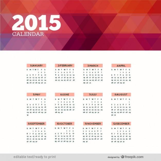 Polygonale 2015 calendrier Vecteur gratuit