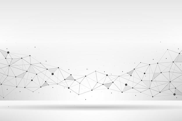 Polygonale géométrique abstraite avec fond point et ligne Vecteur Premium