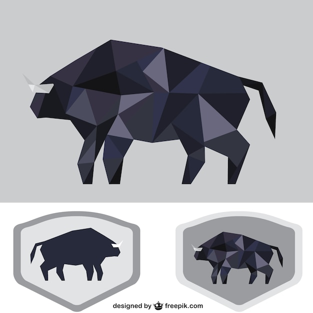 Polygonale taureau noir Vecteur gratuit