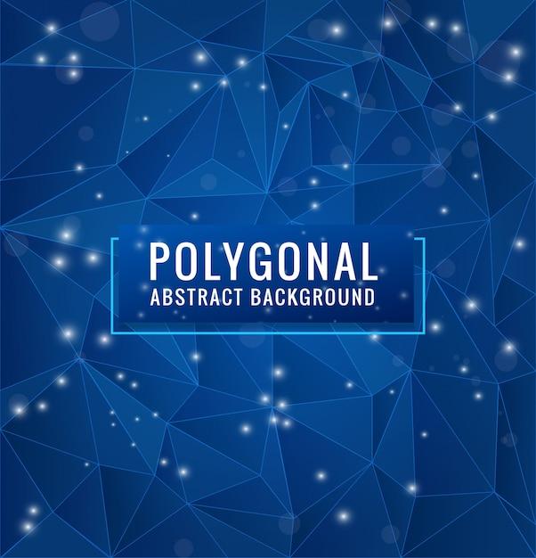 Polygone bleu fond avec des points géométriques et des lignes Vecteur Premium