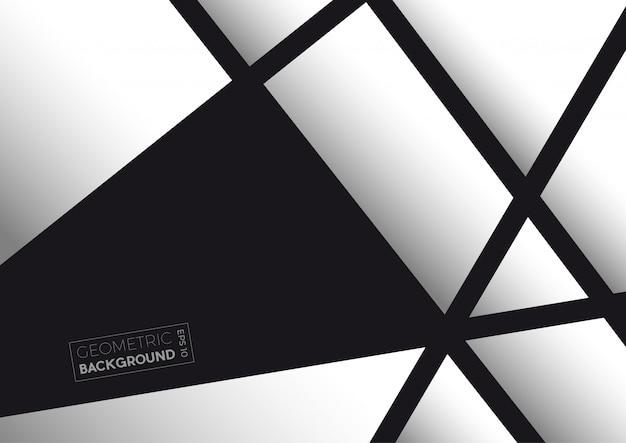 Polygones abstraits géométriques en noir et blanc Vecteur Premium