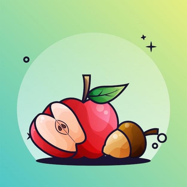 Pomme et gland Vecteur Premium