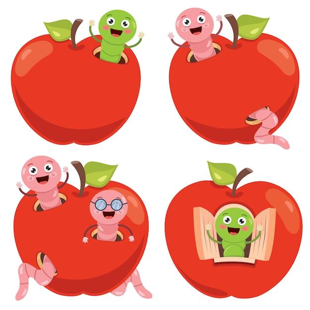 Pomme Rouge Et Dessin Animé Mignon De Ver Vecteur Premium