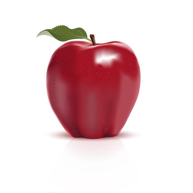 Pomme rouge isolée Vecteur Premium