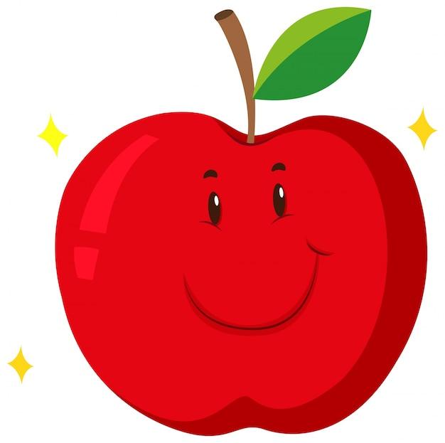 Pomme rouge avec un visage heureux Vecteur gratuit