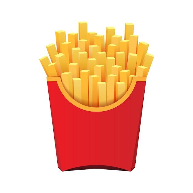 Pommes frites dans un emballage rouge isolé sur fond blanc Vecteur Premium