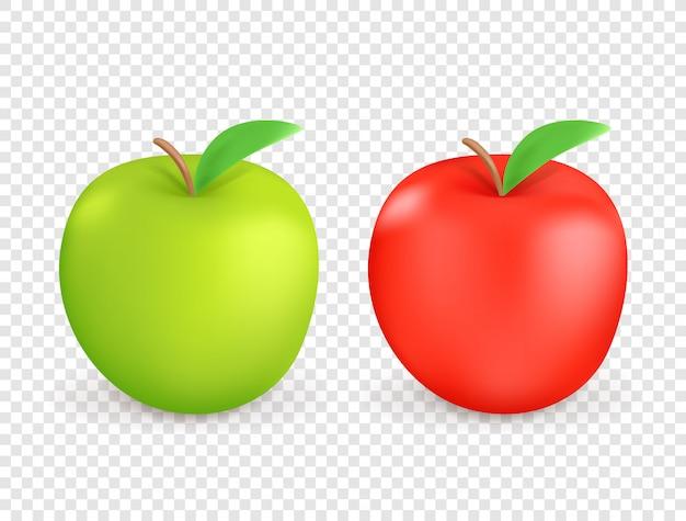 Pommes Rouges Et Vertes Isolées Vecteur Premium