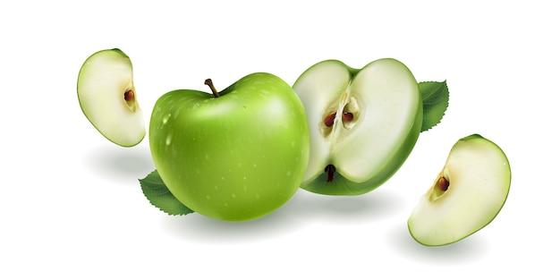 Pommes Vertes Sur Fond Blanc Vecteur Premium