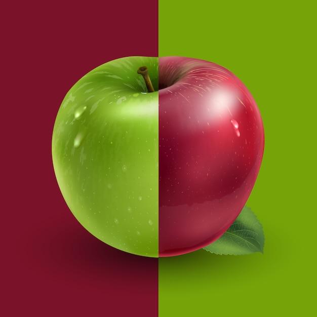 Pommes Vertes Et Rouges Vecteur Premium